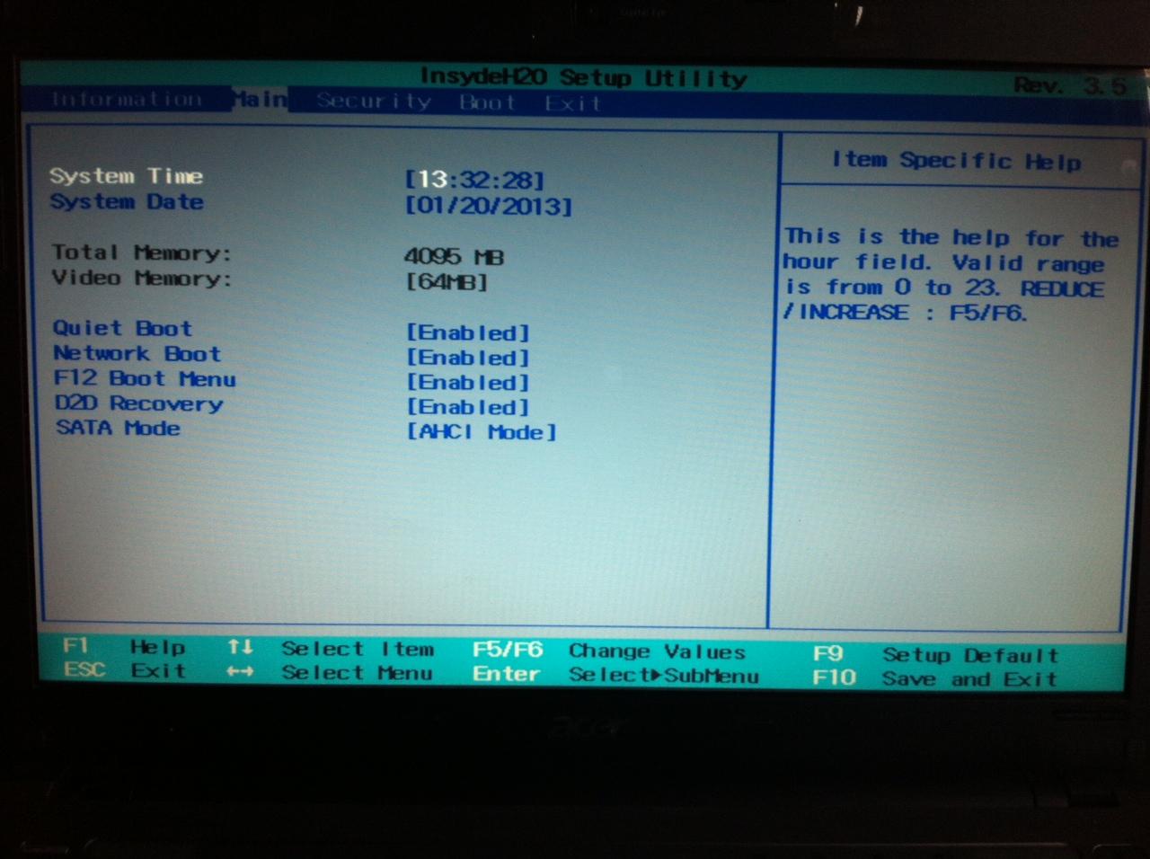 Входим в BIOS на ноутбуке Acer