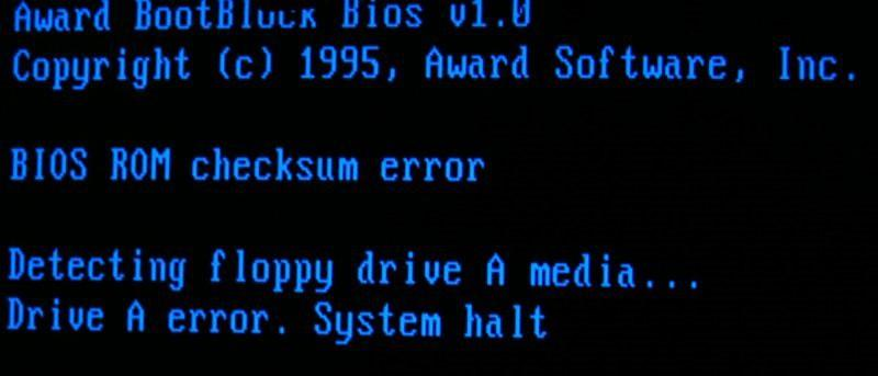 BIOS обнаружил ошибку