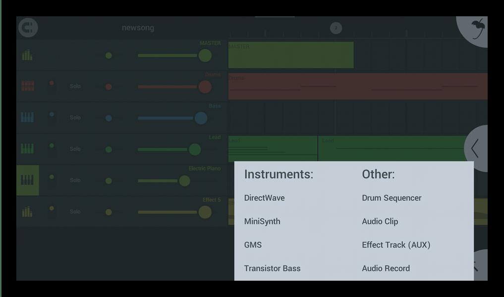 Доступные инструменты FL Studio Mobile