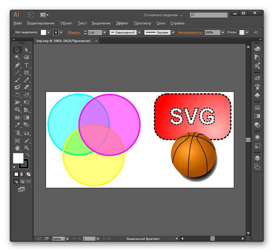 Файл SVG открыт в программе Adobe Illustrator