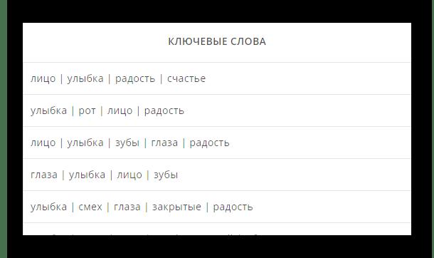 Ключевые слова для идентификации смайликов на сайте сервиса vEmoji