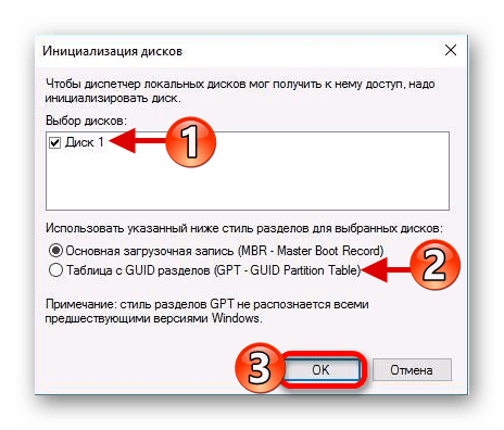 Настройка инициализации жесткого диска в Windows 10
