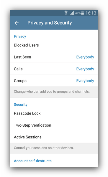 Настройки безопасности в Telegram