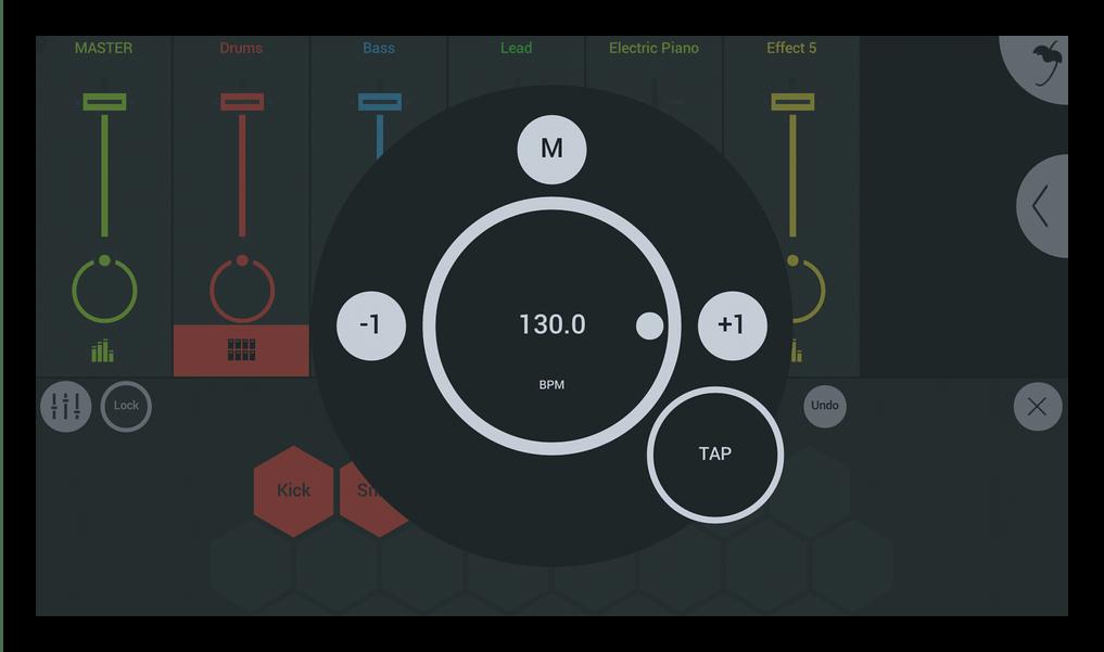 Настройки скорости композиции FL Studio Mobile