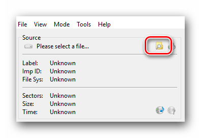 Нажимаем кнопку выбора источника записи в ImgBurn
