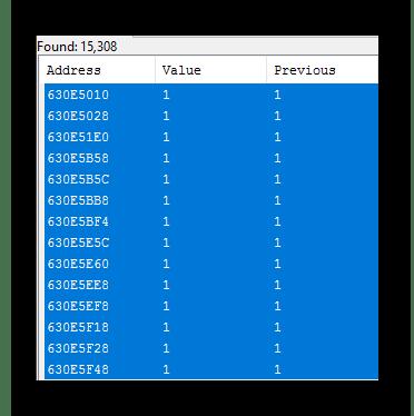 Общий вид всех выделенных значений в Cheat Engine