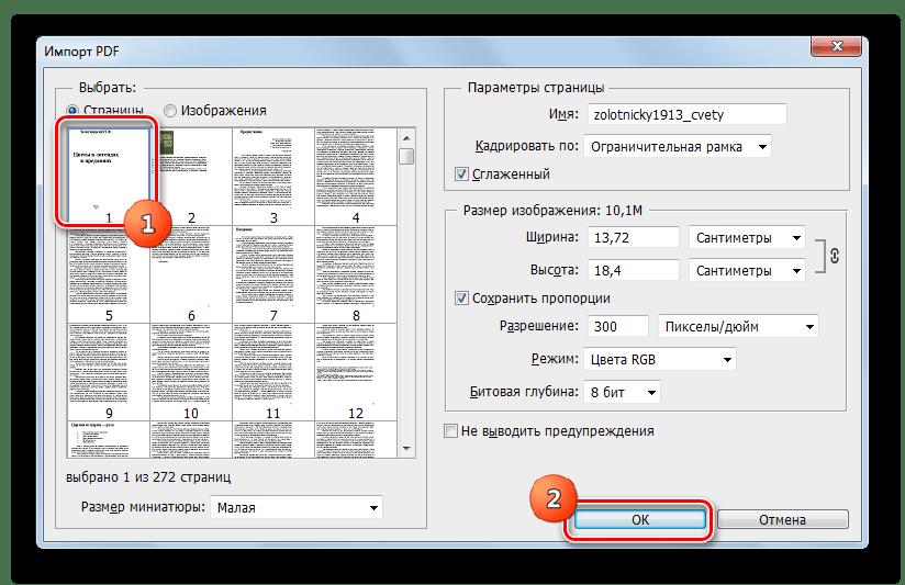 Окно импорта PDF в программе Adobe Photoshop