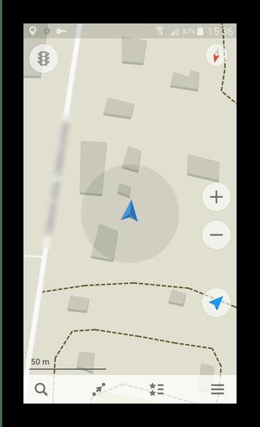 Окно навигации Maps.Me