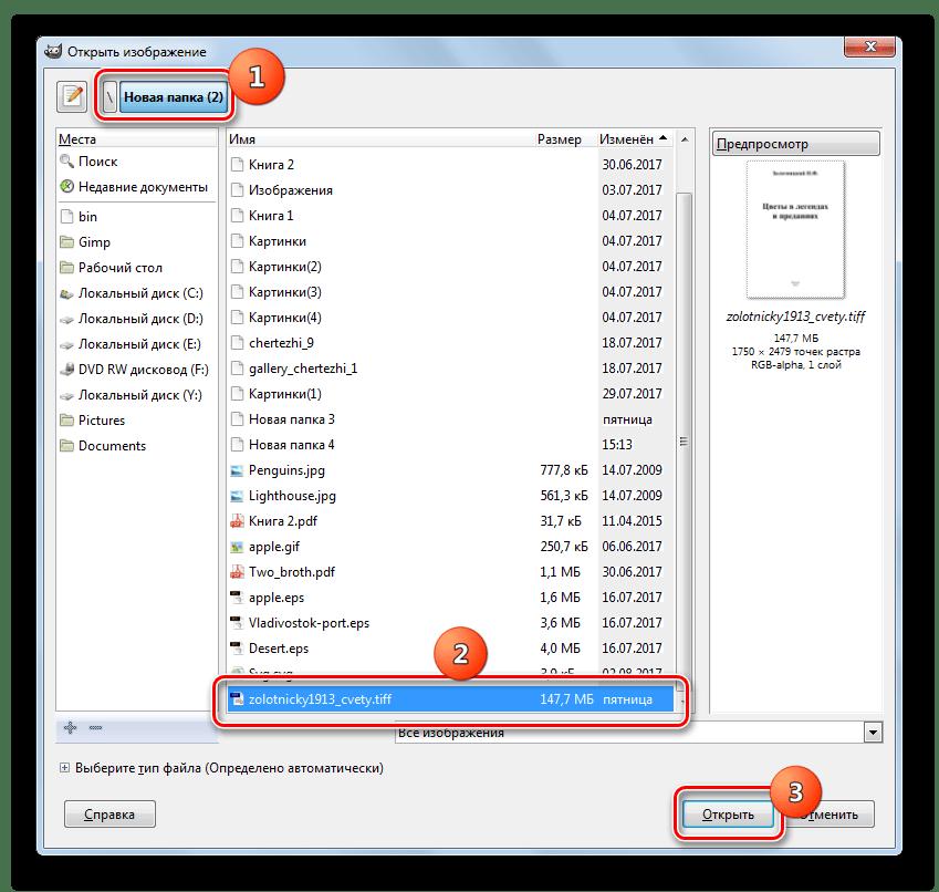 Окно открытия изображения в программе Gimp