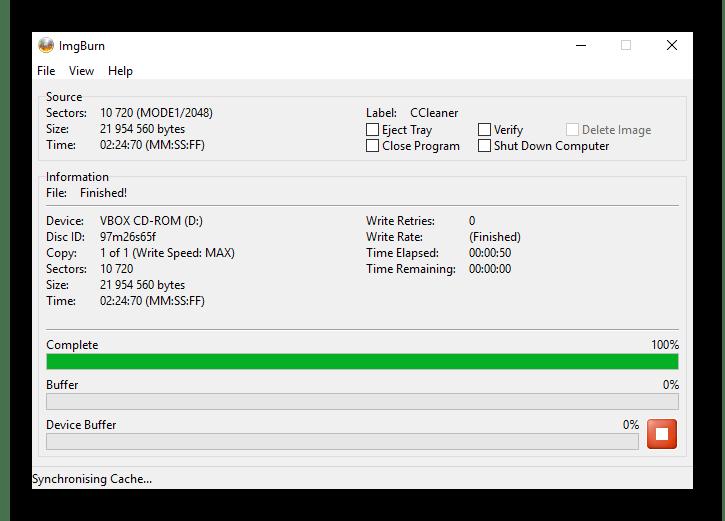 Окно прогресса записи файлов и папок на диск в ImgBurn