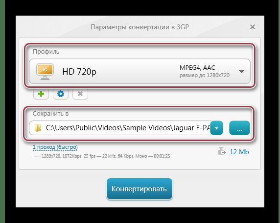 Параметры конвертации в 3GP в Freemake Video Converter