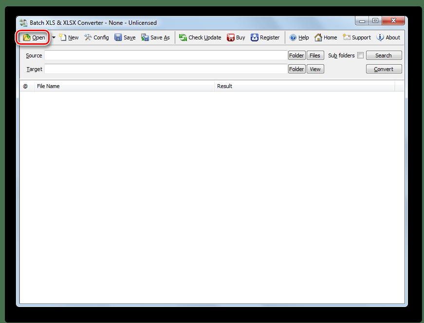 Переход в окно открытия файлов через кнопку на панели инструментов в программе Batch XLS and XLSX Converter