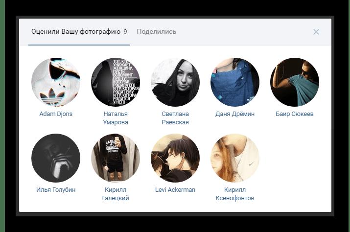 Полный список людей оценивших изображение в разделе фотографии на сайте ВКонтакте
