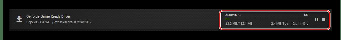 Прогресс загрузки драйвера NVIDIA в GeForce Experience