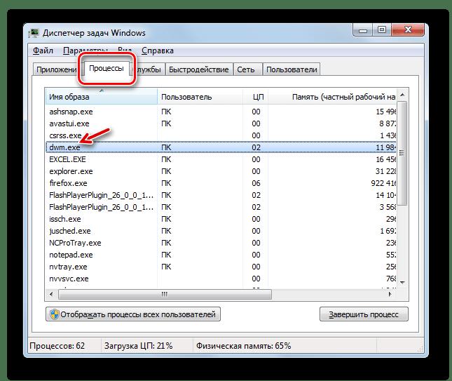Процесс DWM.EXE в окне Диспетчера задач