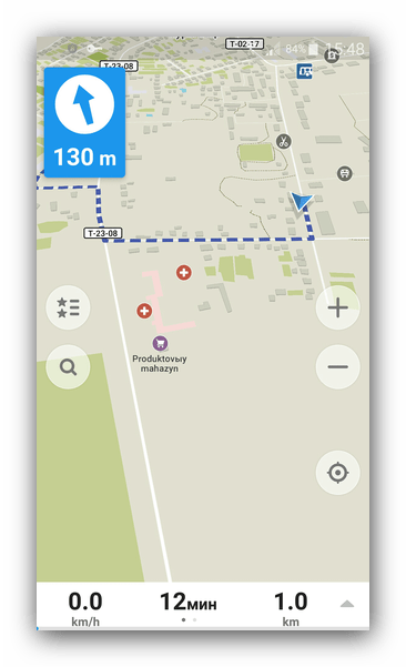 Путь по маршруту Maps.Me