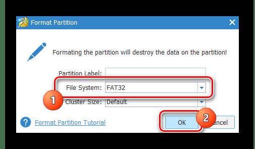 Samsung Wave GT-S8500 MiniTool Partition Wizard форматирование карты в ФАТ32
