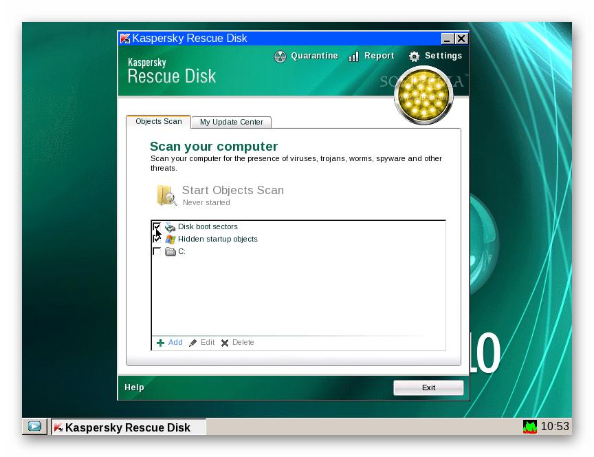 Сканирование системы Kaspersky Rescue Disk