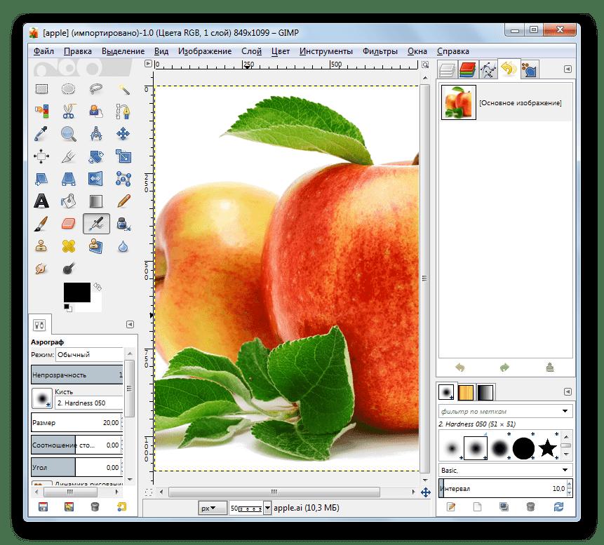 Содержимое файла в формате AI открыто в программе Gimp