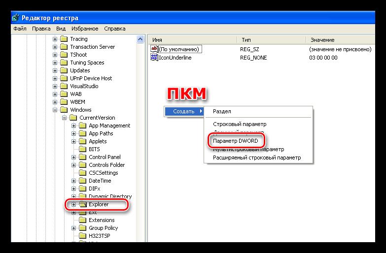 Создание параметра DWORD в утилите редактирования реестра Windows XP