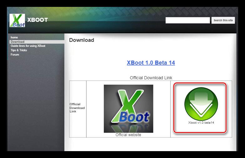 Страница загрузки программы Xboot на официальном сайте разработчика