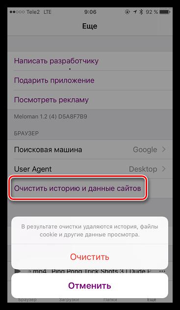 Возможность истории и данных сайтов в Меломан для iOS