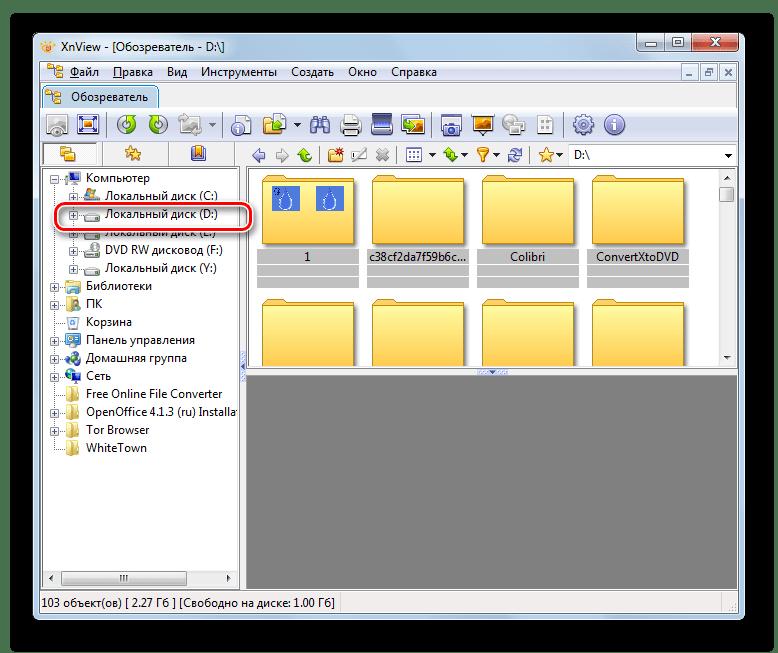 Выбор диска в файловом менеджере программы XnView