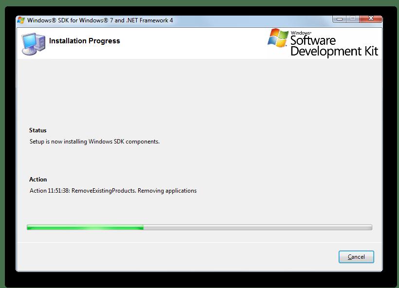 Загрузка и установка утилиты Windows Performance Toolkit с веб-узла Microsoft в окне установщика Windows SDK в Windows 7