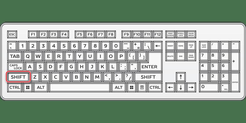 Зажимаем клавишу Shift на клавиатуре в Cheat Engine