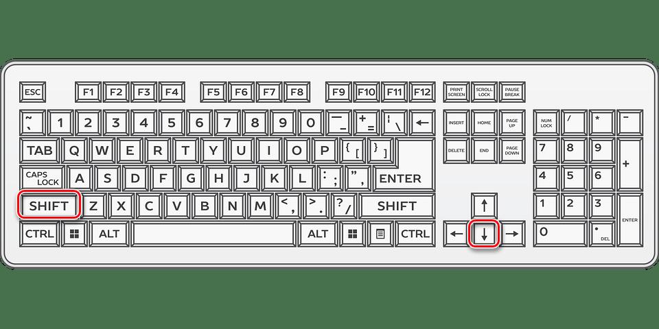 Зажимаем одновременно клавиши Shift и вниз для выбора всех значений