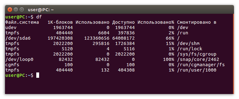 команда df в терминале linux