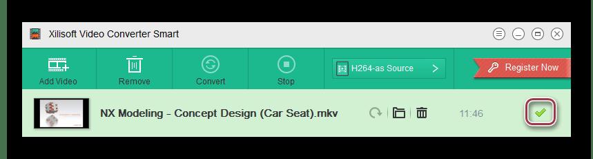 окно завершения конвертации файла в Xilisoft Video Converter