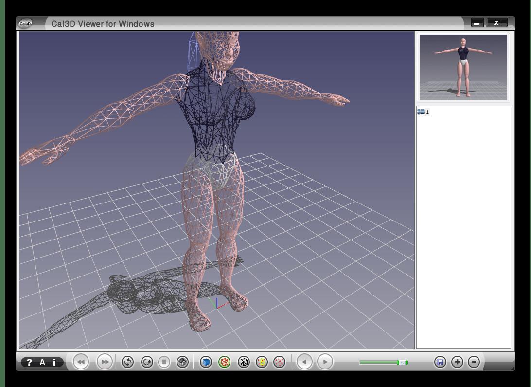открытая 3d модель в Cal3D Viewer for windows