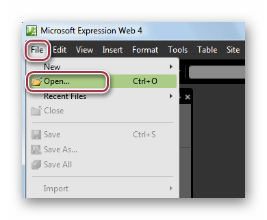 открытие файла в Microsoft Expression Web