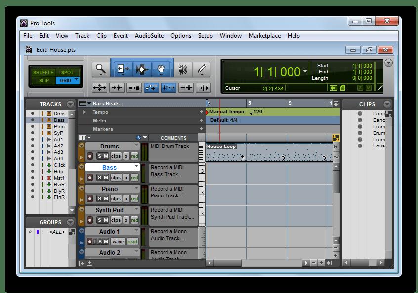 открытый файл в Avid Pro Tools