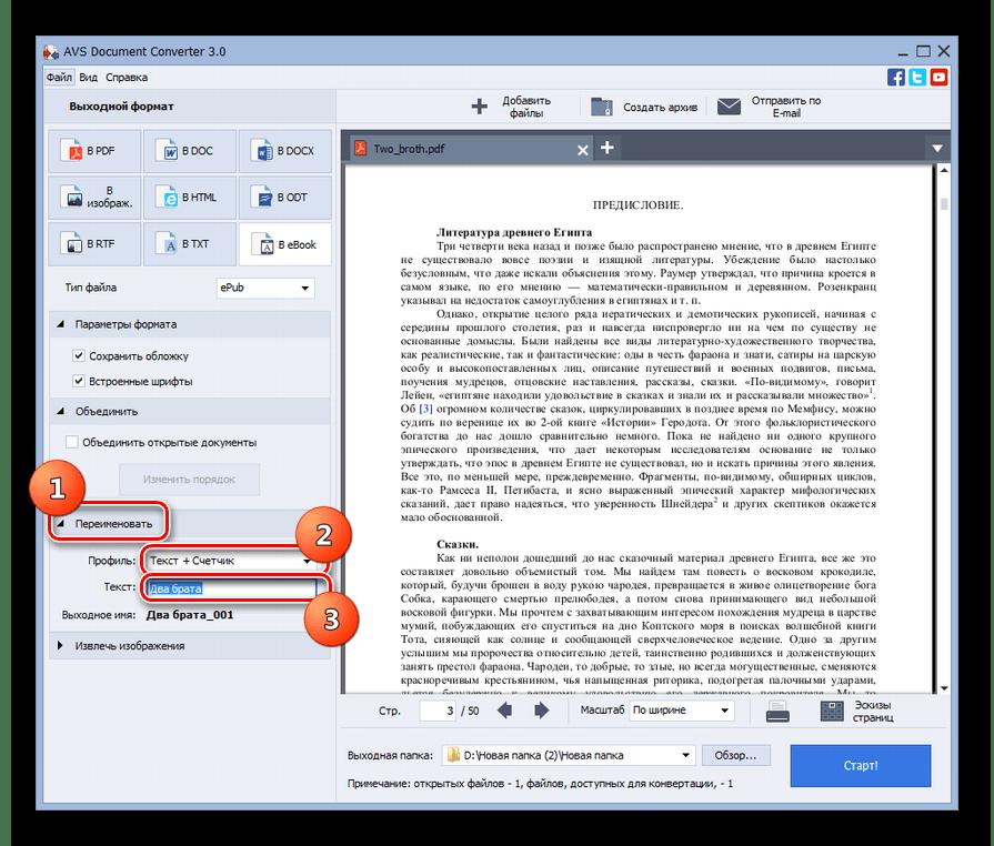 Блок настроек Переименовать в программе AVS Document Converter