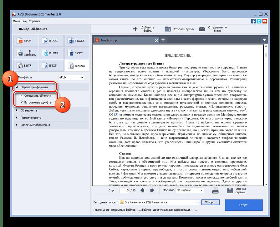 Блок настроек параметры формата в программе AVS Document Converter