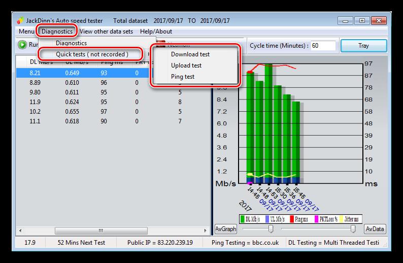 Быстрые замеры скорости интернета в программе JDAST