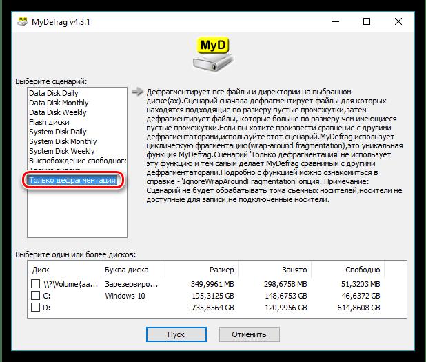 Дефрагментация выбранного раздела жёсткого диска в программе MyDefrag