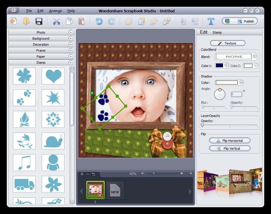Добавление печати на страницу в программе Wondershare Scrapbook Studio