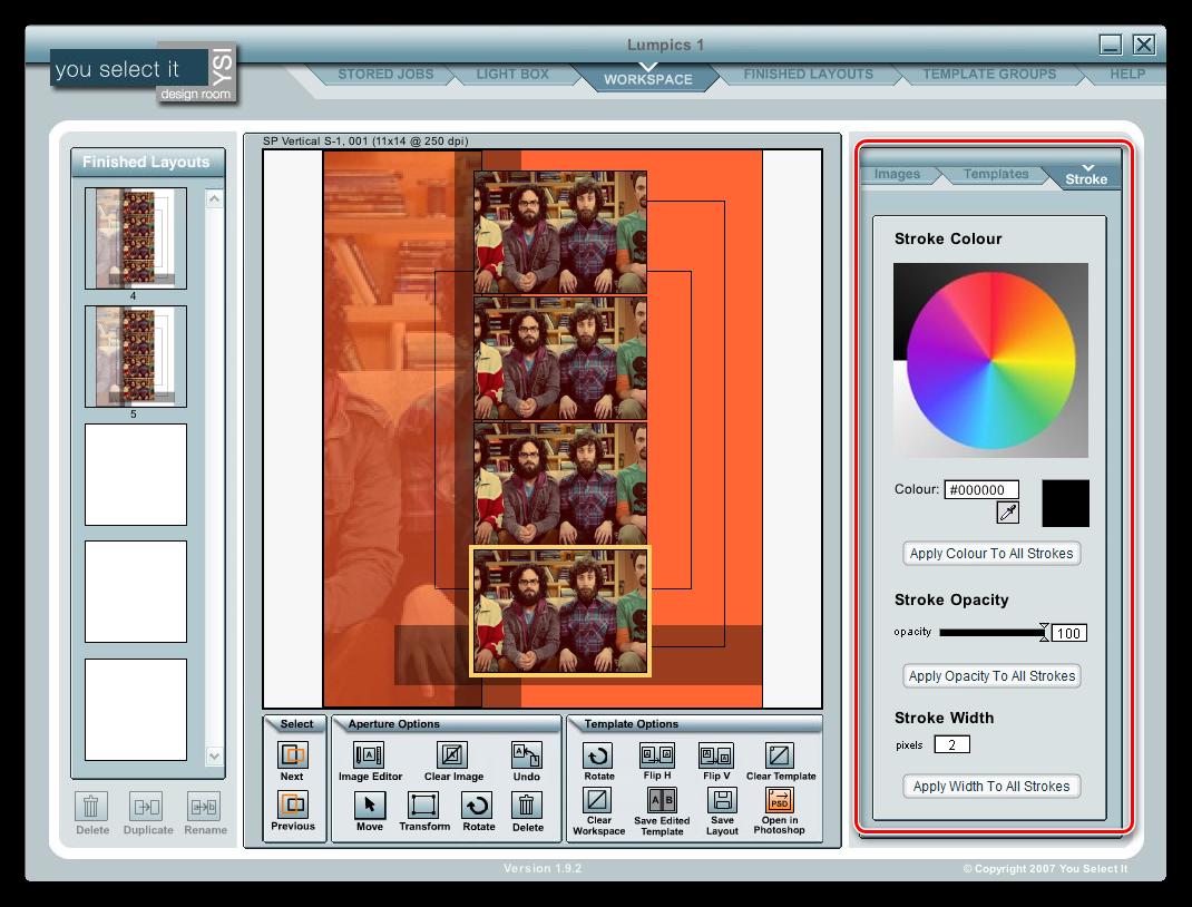 Добавление заливки и обводки к элементам в программе You Select It