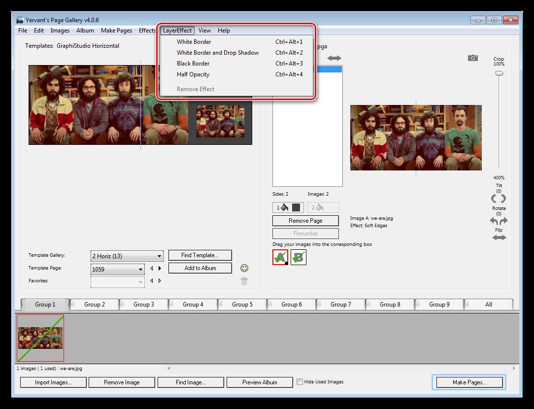 Эффекты применяемые к слоям в программе Yervant Page Gallery