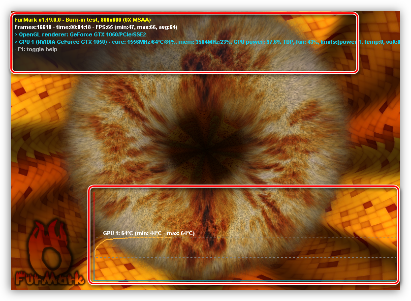 Экран стрессового тестирования видеокарты в программе FurMark