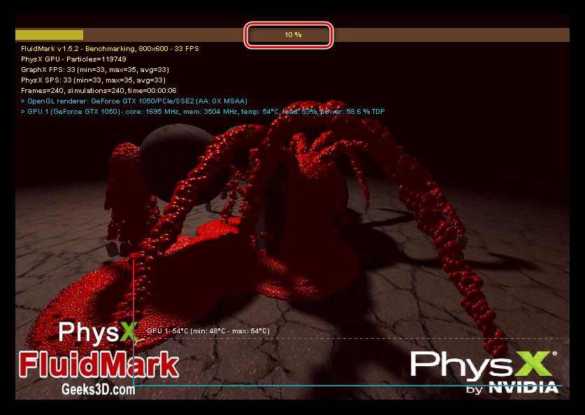 Экран тестирования производительности графической системы в программе PhysX FluidMark