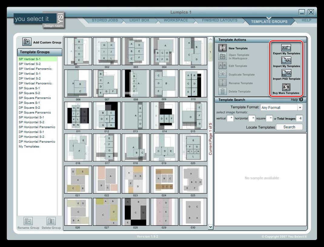 Экспорт и импорт макетов страниц в программе You Select It