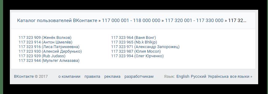 Финальная страница каталога пользователей на сайте ВКонтакте