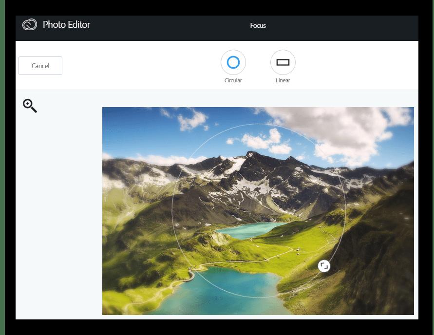 Фокусирование Онлайн-фоторедактор Aviary