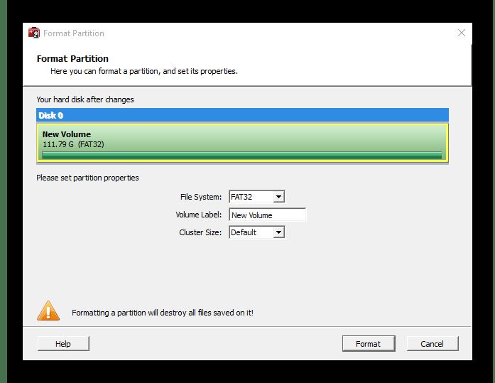 Форматирование разделов в программе WonderShare Disk Manager