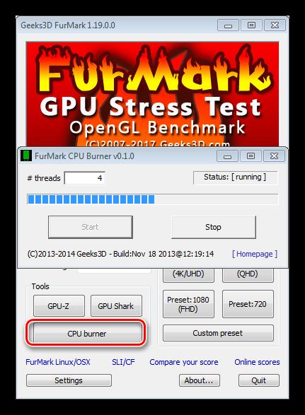 Функция максимального прогрева процессора в программе FurMark