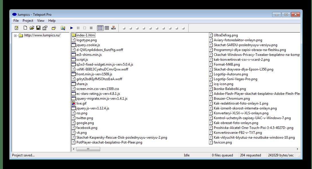 Главное окно Teleport Pro